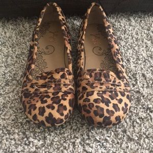 Shoes - Animal print loafers.